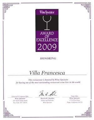 Villa Francesca - Wine Enthusiastic - Award Of Excellence 2009