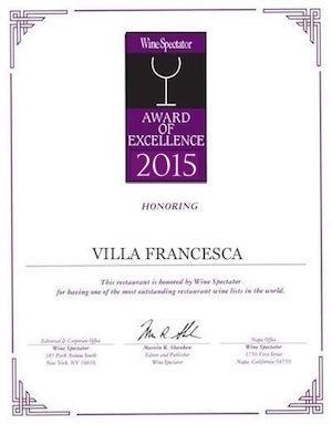 Villa Francesca - Wine Enthusiastic - Award Of Excellence 2015
