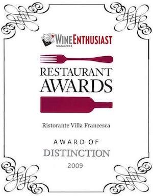 Villa Francesca - Wine Enthusiastic - Restaurant Awards 2009